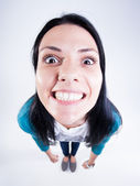 Pretty girl with perfect teeth smiling big - fish eye — Stock Photo