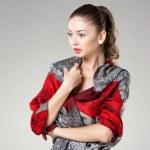 Woman wearing kashmir scarf — Stock Photo #34933253