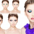 Collage of make-up steps on beautiful model isolated on white — Stockfoto