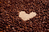 Coffee beans and the heart — Stock Photo