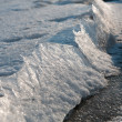 Close-up of cracked ice texture on river in spring time — Stock Photo