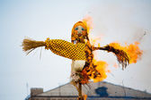 Traditional off winter in Russia, burning effigies of carnival. — Stock Photo