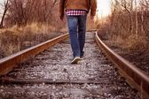 Railway road to horizon — Stock Photo