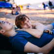 Portrait of a happy gay couple outdoors — Stock Photo