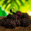 Stock Photo: Sweet fresh blackberry in wood bawl