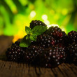 Sweet fresh  blackberry in the wood bawl — Stock Photo