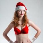 Pretty Santa girl closeup portrait, — Stock Photo #37782415