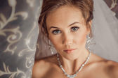 Beautiful Bride lit by sunlight from a window. beautiful young bride standing beside a large window — Stockfoto