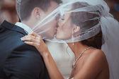 Young wedding couple kissing. — Stock Photo