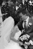 Szczęśliwa para na dzień ślubu. panna młoda i pan młody. — Zdjęcie stockowe
