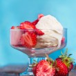 Ice cream with strawberries and whipped cream — Stock Photo #47858689