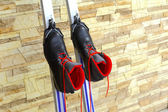 Ski boots, enshrined skiing — Stock Photo