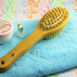 Wooden brush with a handle for body massage , towel and objects - Stock Photo