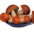 Mushrooms, aspen mushrooms on a blue saucer, photographed on a w — Stock Photo #31357055