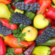 A lot of various fruits, red , yellow and green pepper. — Stock Photo