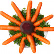 Carrots, beets, parsley on the plate on a white background. — Stock Photo
