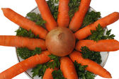 Carrot, onion and parsley on the plate on a white background. — Stock Photo