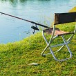 Comfortable place for fishing at the river and caught fish — Stock Photo