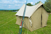 The tent from a canvas for fishing and tourism. Legacy sample. — Stock Photo
