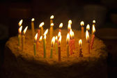 Birthday cake with candles — Stockfoto