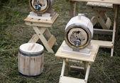 Wooden oak barrel wine, beer with metal crane. Sold at the fair. — Stockfoto