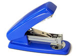 Stapler for papers of bright blue color — Stock Photo