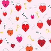 Seamless keys in heart. — Stock Vector
