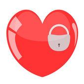 Illustration of padlock in red heart. — Stock Vector