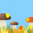 Seamless of mushroom in grass. — Stock Vector