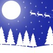 Vector illustration of Christmas night in the winter forest. — Stock Vector