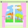Rural landscape outside the window. — Stock Vector #30810855