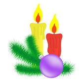 Candles and Christmas branch. — Stockvector