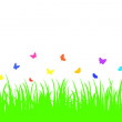 Colored butterfly on a seamless grass. — Stock Vector