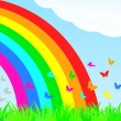 A butterfly flies through the rainbow. — Stock Vector