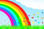 A butterfly flies through the rainbow. — Stock Vector