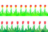 Set of seamless the tulips in the grass. — Stock Vector