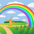 Rural landscape with a rainbow. — Image vectorielle