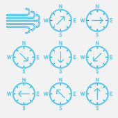 Set of icons wind directions. — Stock Vector
