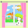 Rural landscape outside the window. — Stock Vector #37240217