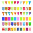 Set garlands of colored flags. — Stock Vector