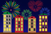Fireworks over the night city. — Stock Vector
