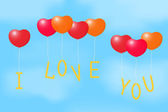 Balloons with a Declaration of love. — Stock Vector