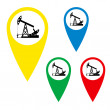The silhouette of the oil pump on a map marker. — Stock Vector