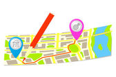 The route and pencil on the map of the city. — Stock Vector