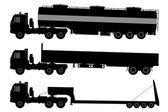 Sada siluety nákladní automobily. — Stock vektor