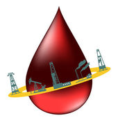Drop of oil and the silhouettes of oil industry. — Stock Vector