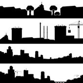 Set of silhouettes cityscapes. — Stock Vector
