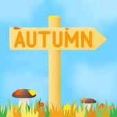 Sign with the inscription autumn. — Cтоковый вектор