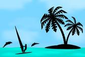 An island with a palm tree. — Stockvektor