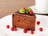 Chocolate cake with red currant and lemon balm — Stock Photo